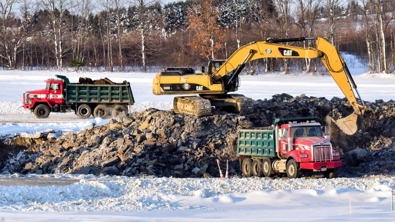 Winter work at the Presque Isle Bypass