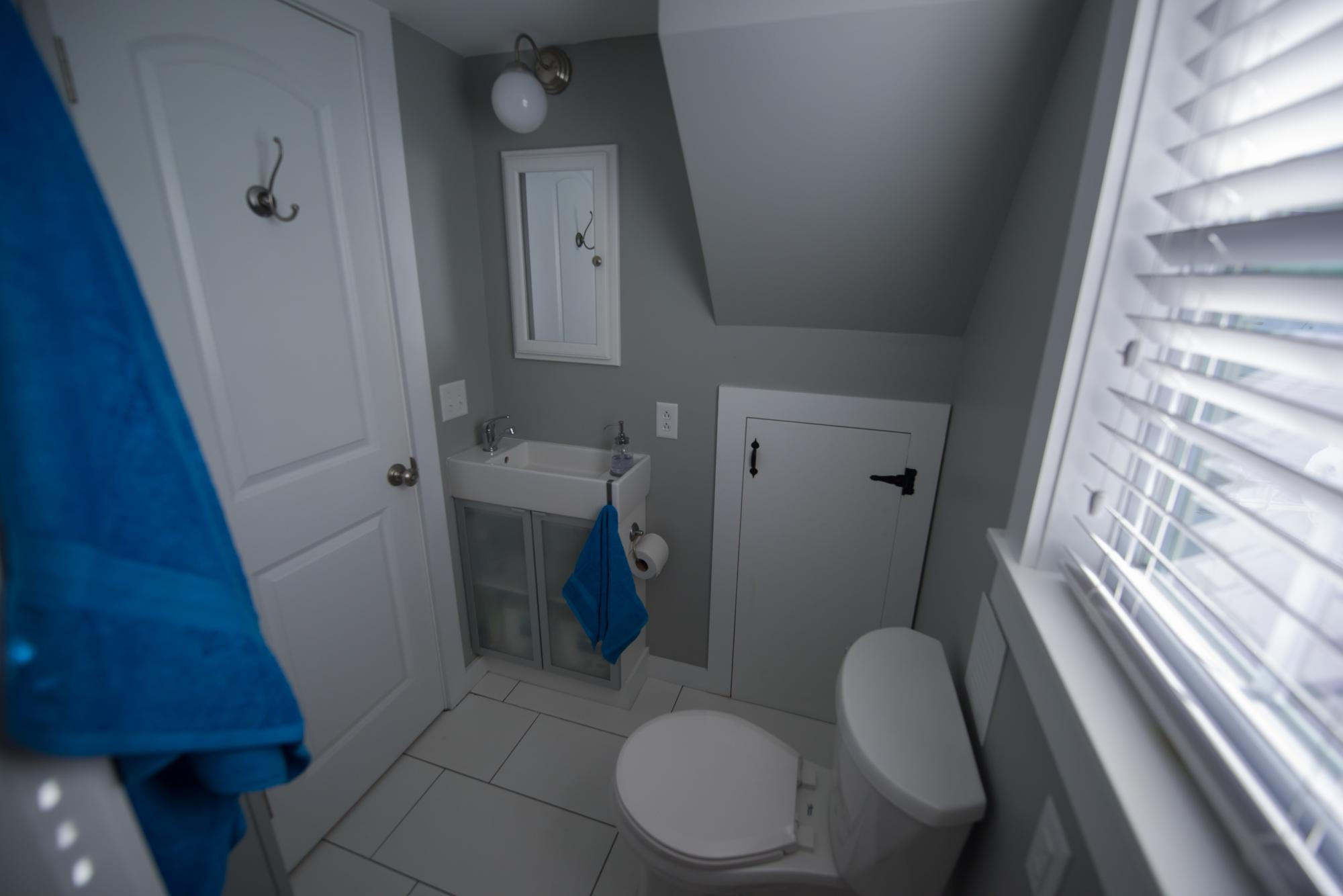 Bathroom features flush toilet and storage