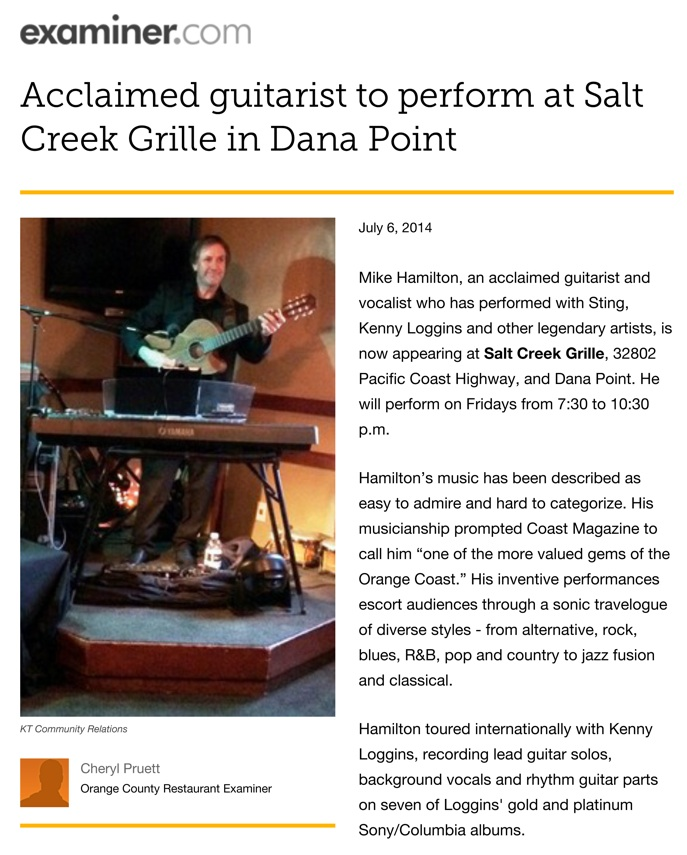 Examiner.com • Mike Hamilton Solo Shows at Salt Creek Grille • Dana Point, CA