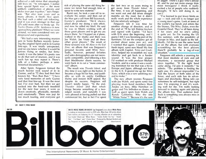 Billboard Magazine • Jay Ferguson's Album 'White Noise' w/Mike Hamilton on Guitar