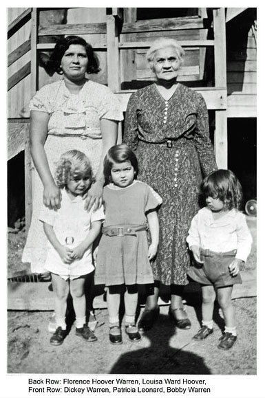 Florence Hoover Warren with her mother, Louisa Ward Hoover. Children are Richard Warren, Patricia Leonard, and Robert Warren,  circa 1934. Left to right