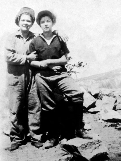 Florence Hoover and Mildred Hoover,  half sisters. On back of photo: Crater Lake 1924