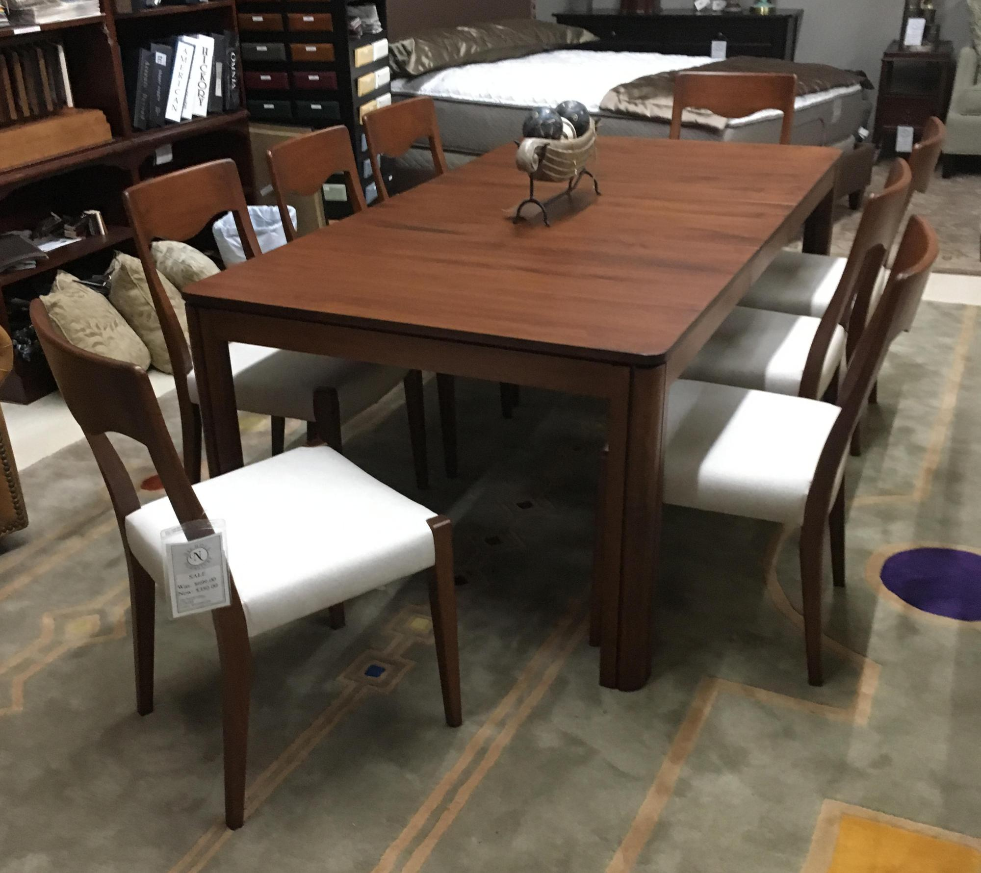 "Solid maple Danish Modern table with 8 chairs,   42""x60"" with one 18"" leaf"