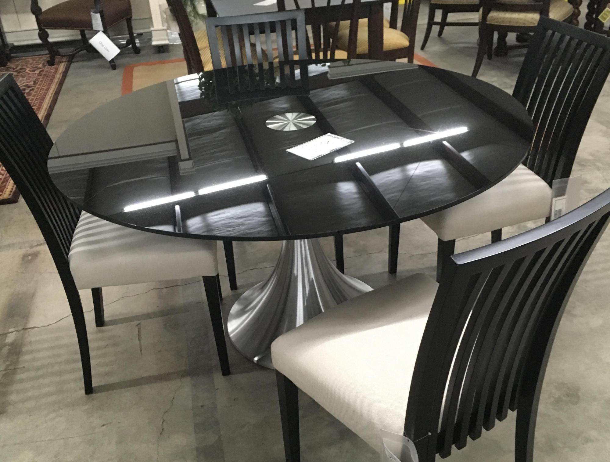 "54"" Black Glass and steel table only"
