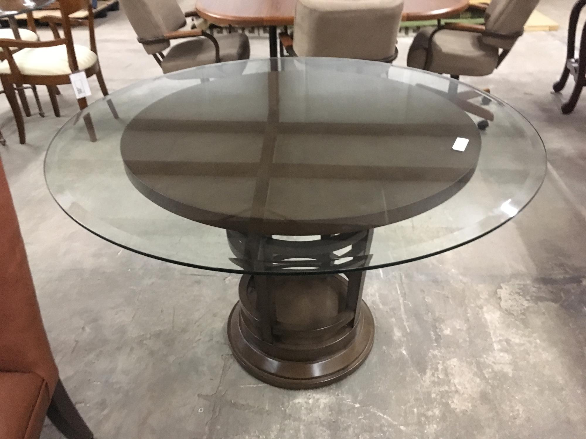 "48"" glass with bevel on wood base table only"