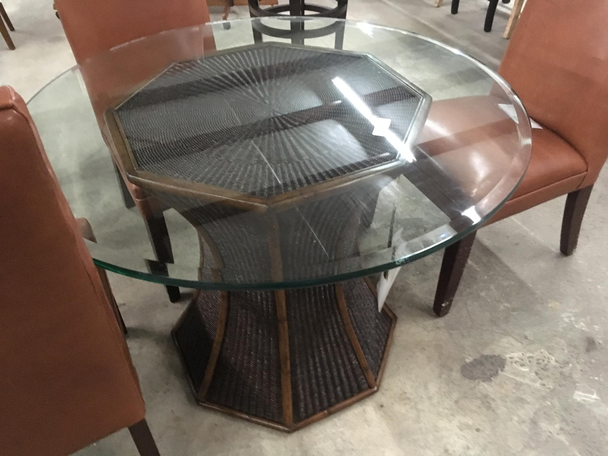 "Glass on Wicker base, 42D  3/4"" glass with bevel - other glass available"