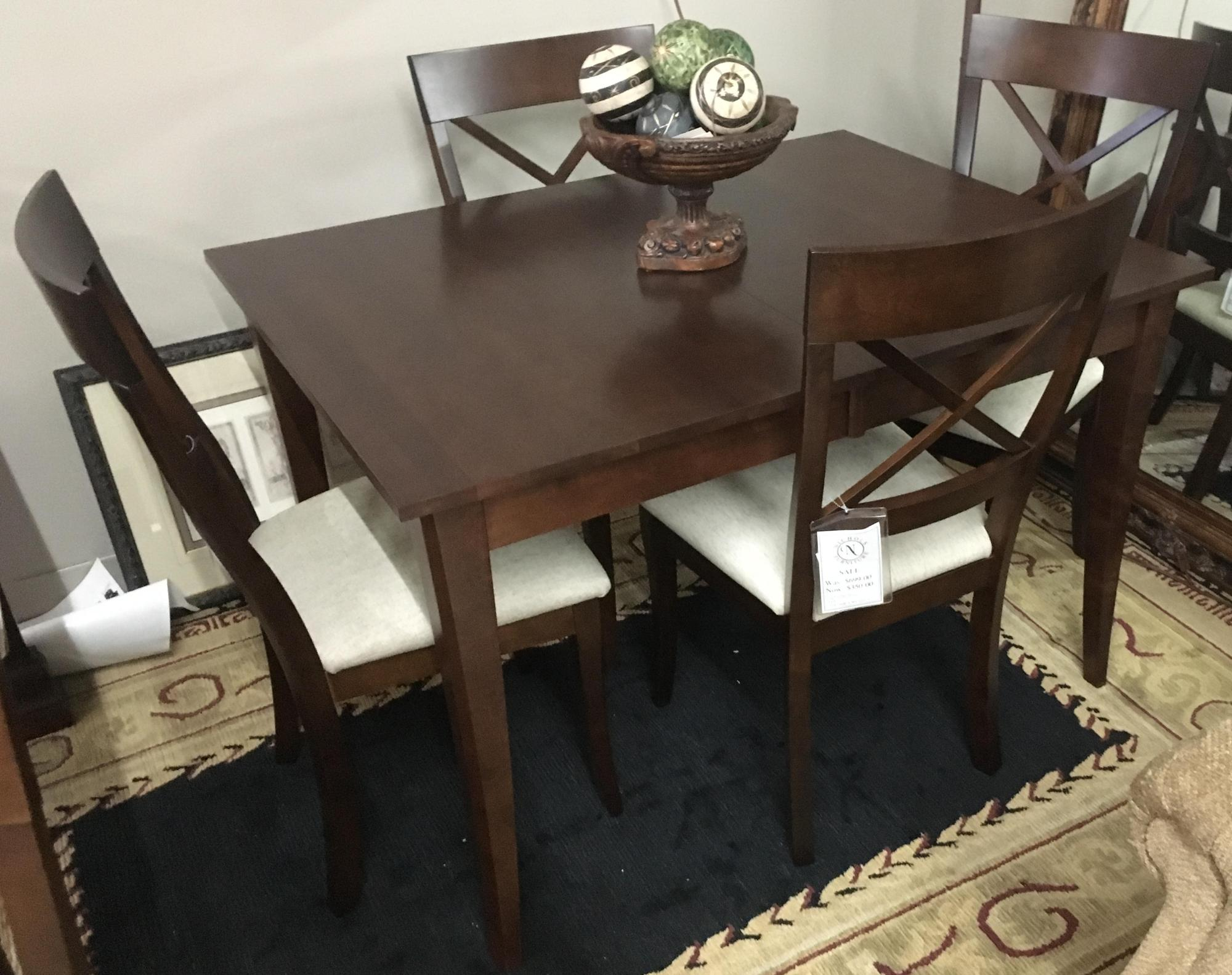 "Solid maple table with 4 matching chairs, 36""x48"", no leaf"