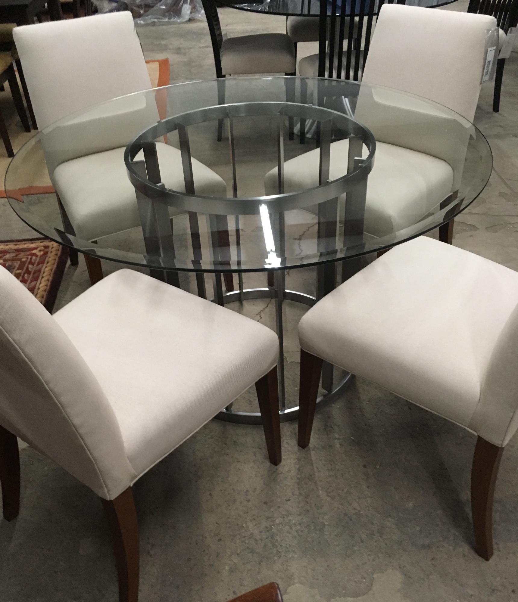 "Steele and 48"" glass contemporary table only"