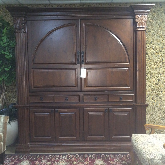 Large armoire with pocket doors, almost 8' tall built in solid alderwood
