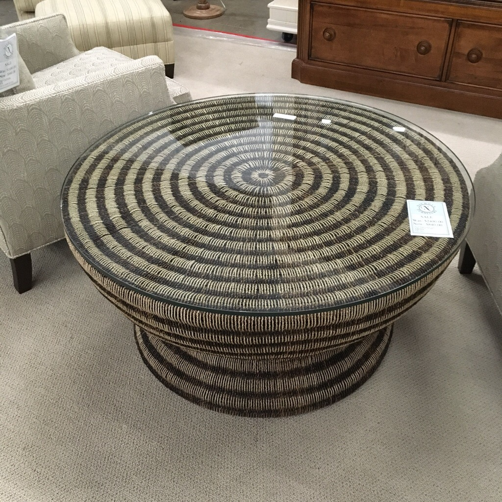 Woven round coffee table with glass top