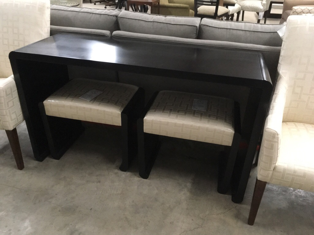 Ribbon sofa table / console with two matching benches, slight damage on top