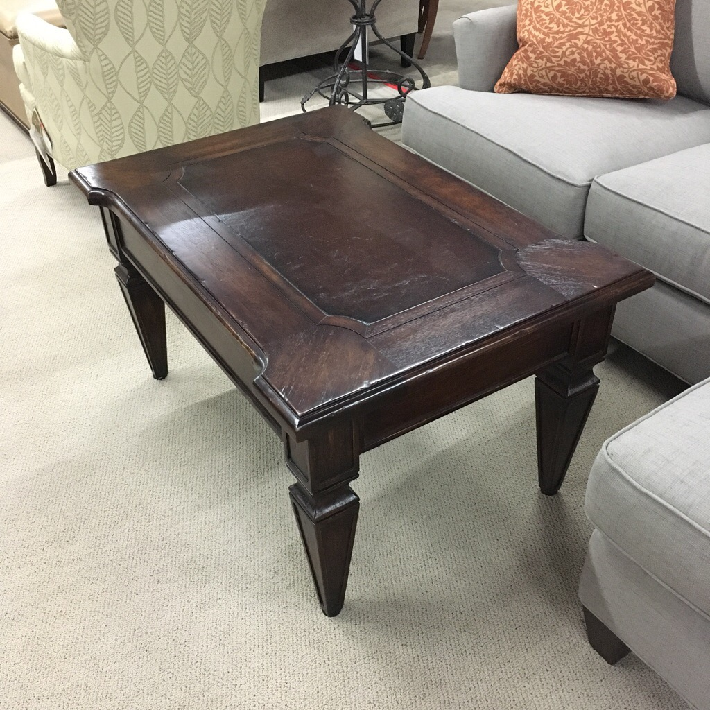 Small coffee table with leather insert, made in South America in solid wood