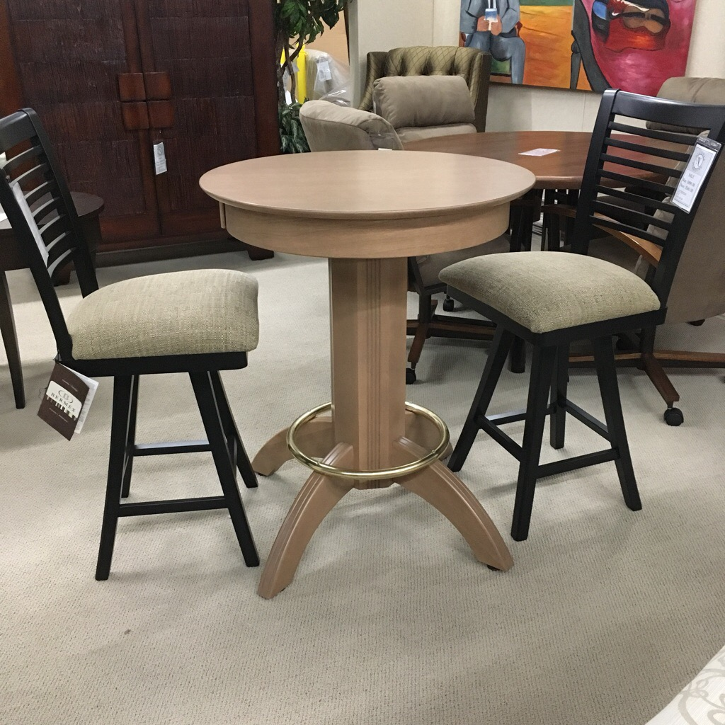 "Counter height Pub Table in Solid maple with light finish,  Counter stools in black   30""D"