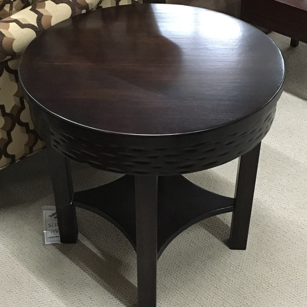 Round solid wood end table made in South America