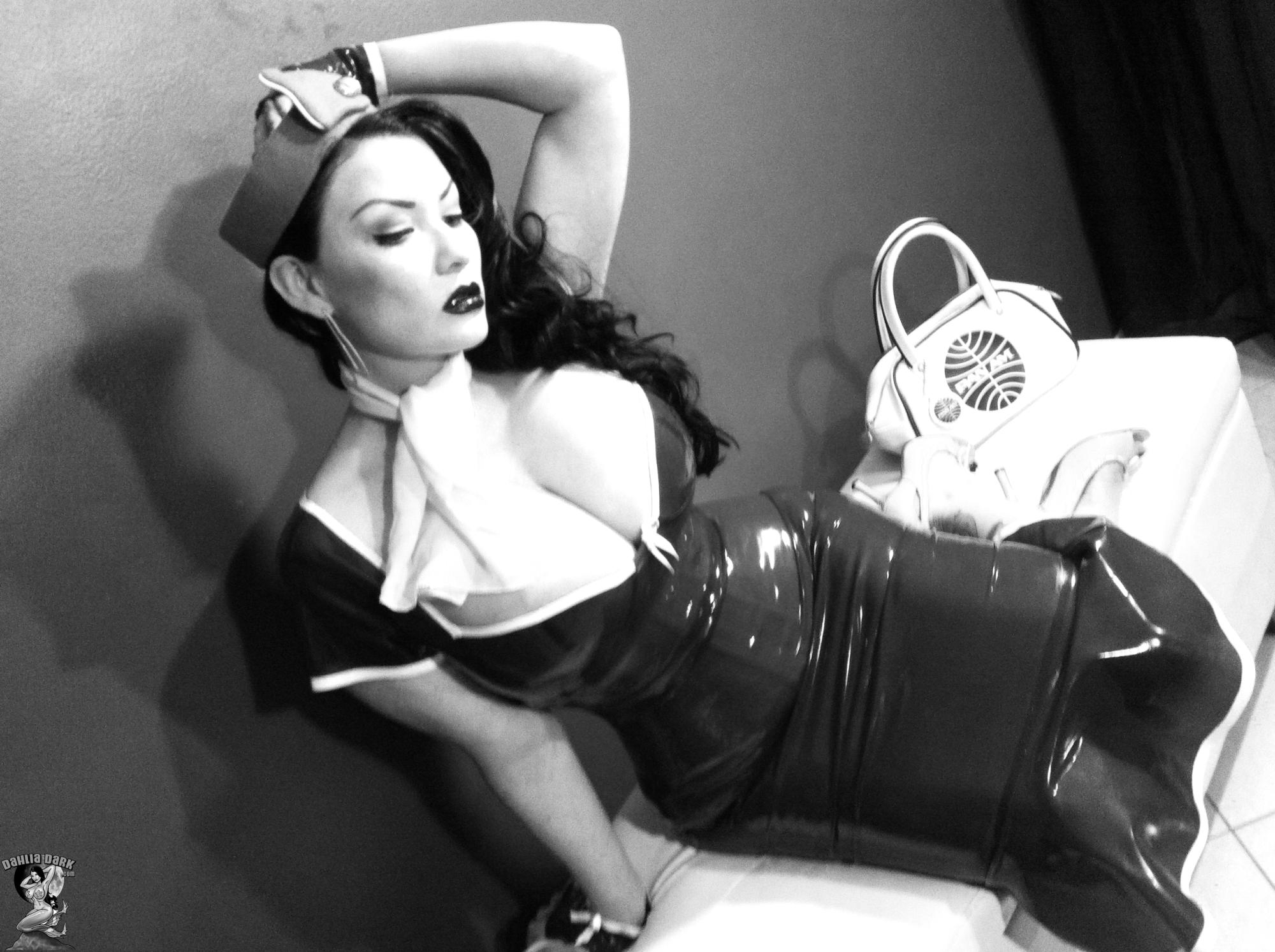 dahlia dark pinup stewardess black and white