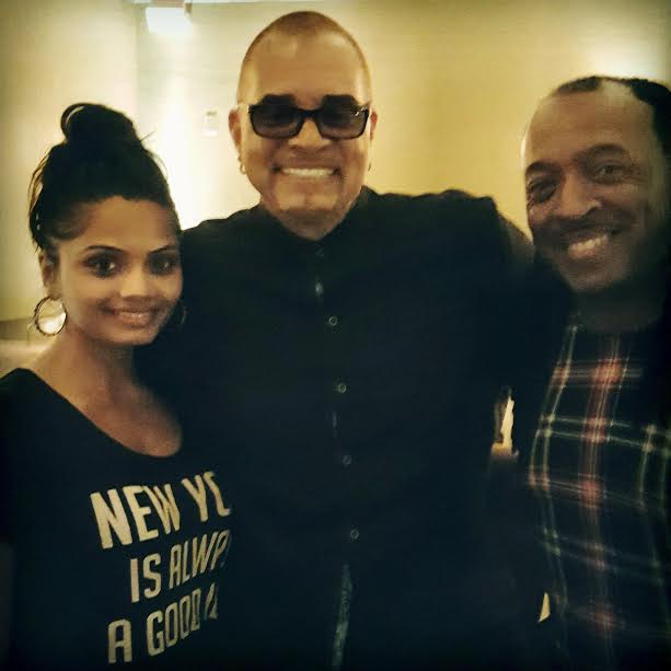 Vishu Patel, comedian Sinbad and Wayne at Delta's