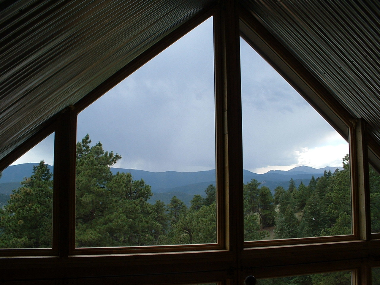 Cabin-mountain view from loft bedroom