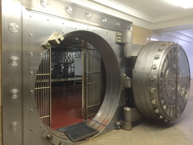 Large bank vault in basement of 504