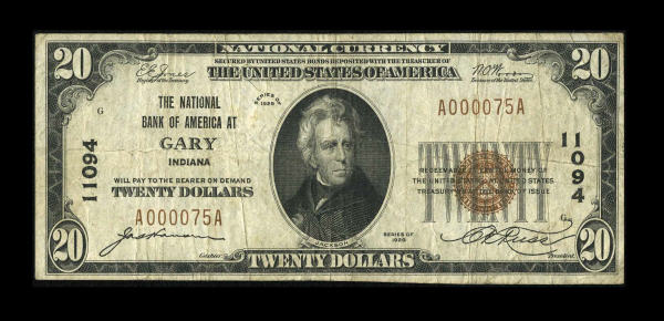 Gary National Bank stamped currency
