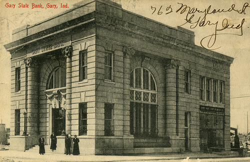 The original Gary State Bank in 1906