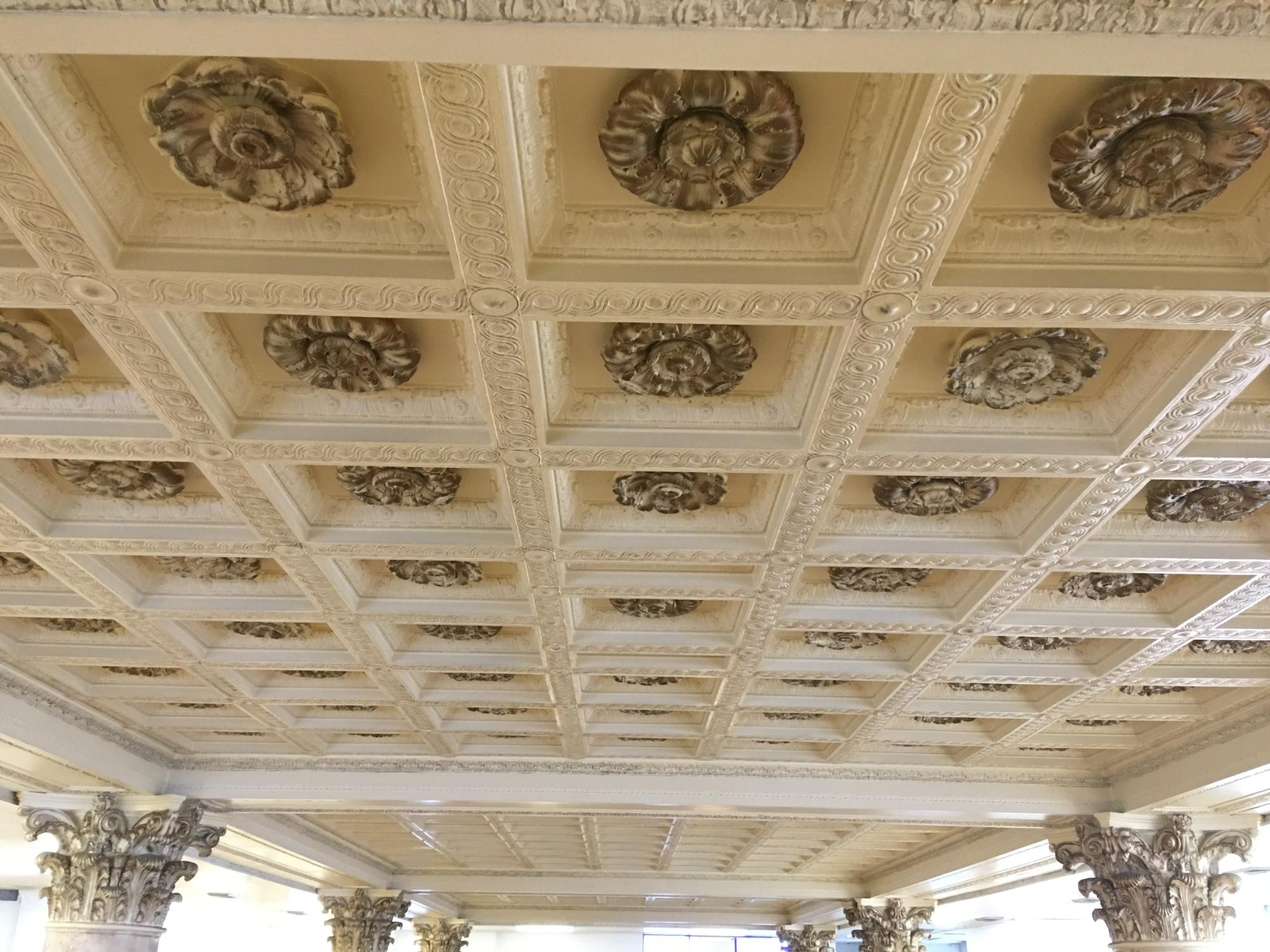 Original ceiling in former bank area