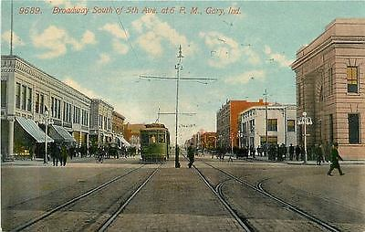 Postcard Downtown Gary at 5th & Broadway