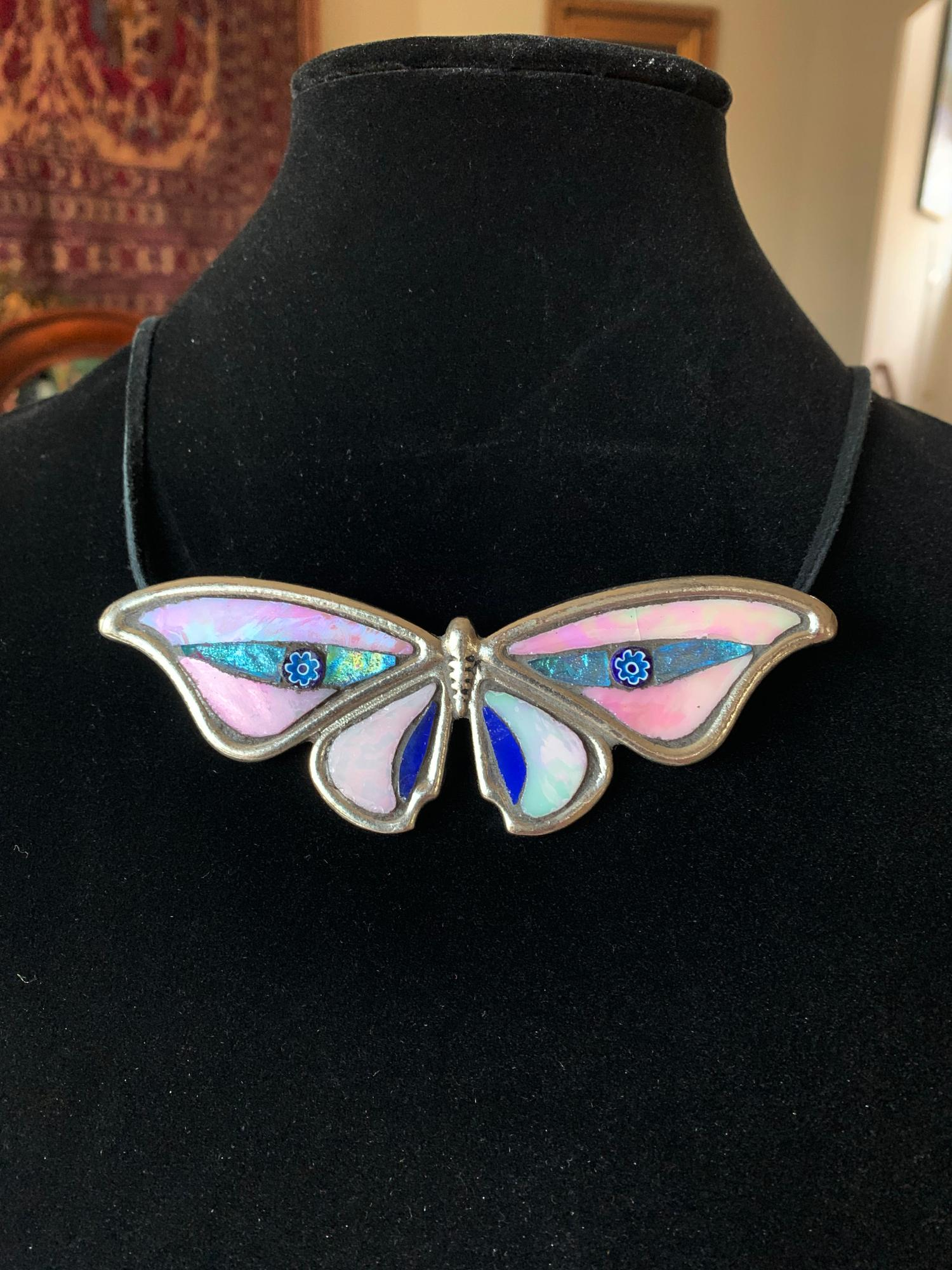 Pink and Blue Butterfly Adjustable length Leather Cord Pendant