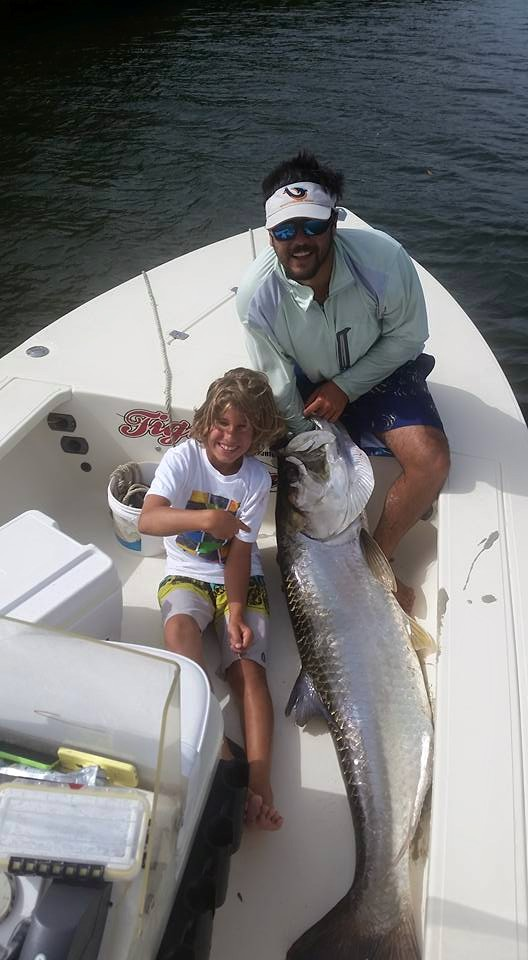 130 LBS TARPON CAUGHT BY 11 YEAR OLD