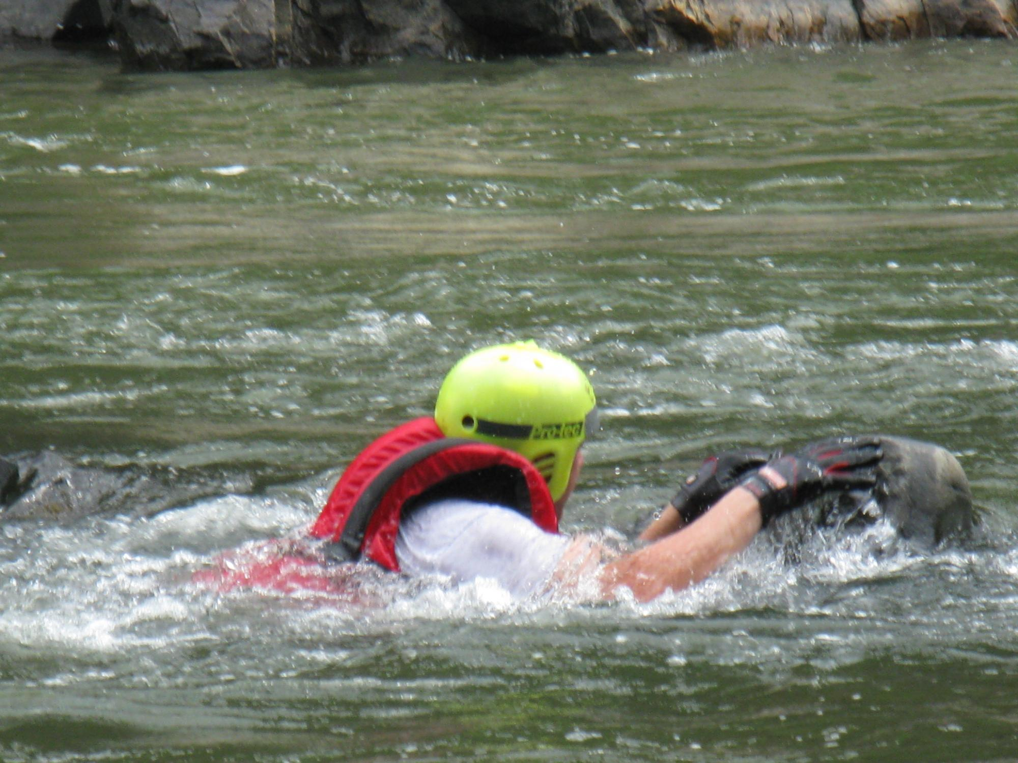 A member was stuck on a rock during Swift water training.