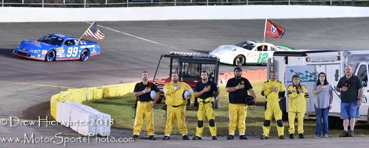 Standing for the National Anthem before one of the races at Kingsport Speedway.