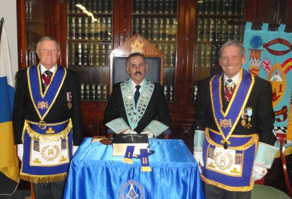 Worshipful Master with Grand Officers
