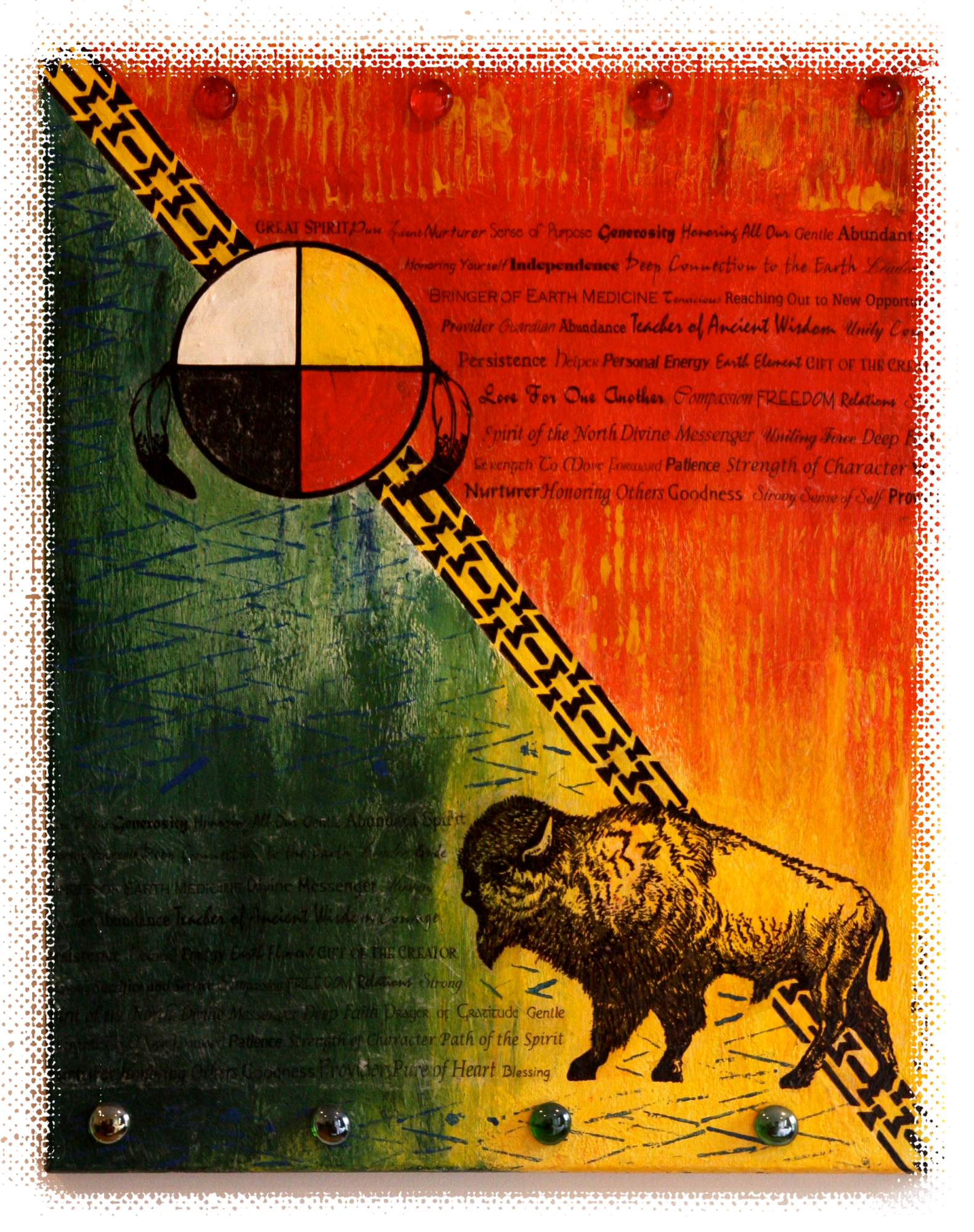 Buffalo Totem - SPC Power Colors On Canvas