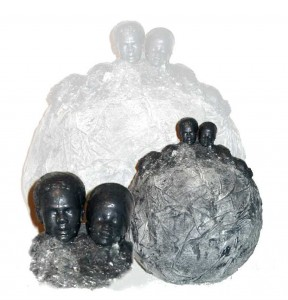 Yard Orb Sculpture - Powertex Liquid, Stone Art , Plaster Heads & Textiles On Foam