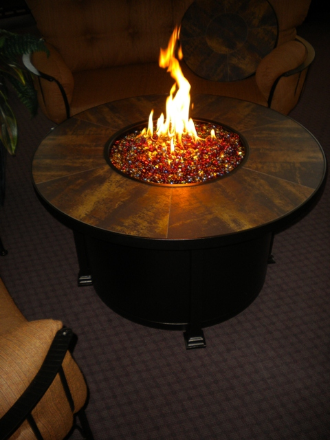 "Santorini 42"" Round Fire Table Metallic Brown Tiles D=42"" H=24"""