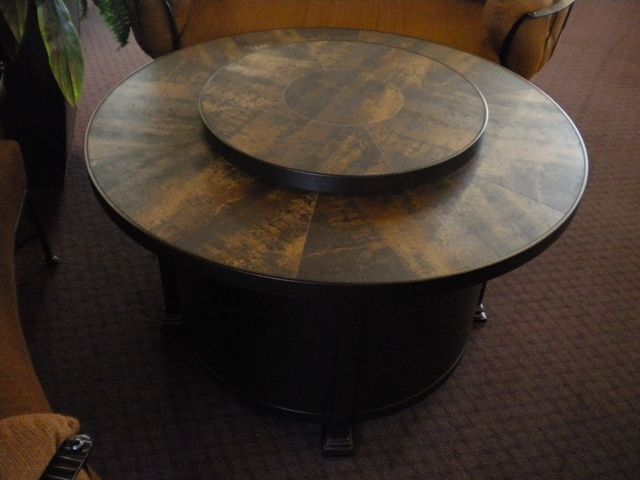 "54"" Metallic Brown Chat Fire Table with Lazy Susan"