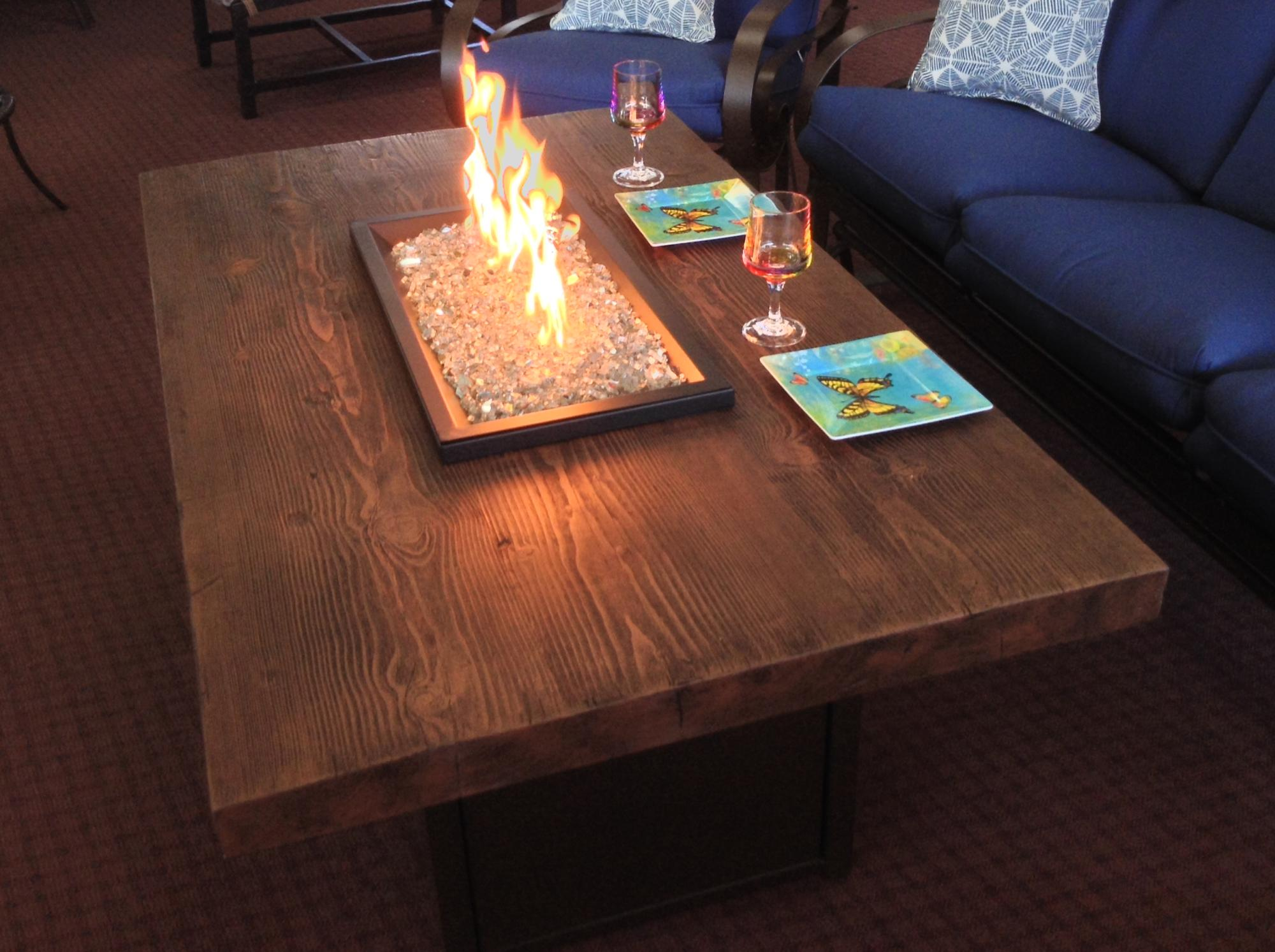 "Aurora Timber Sequoia Chat Fire Table W=60"" D=36"" H=24.5"""