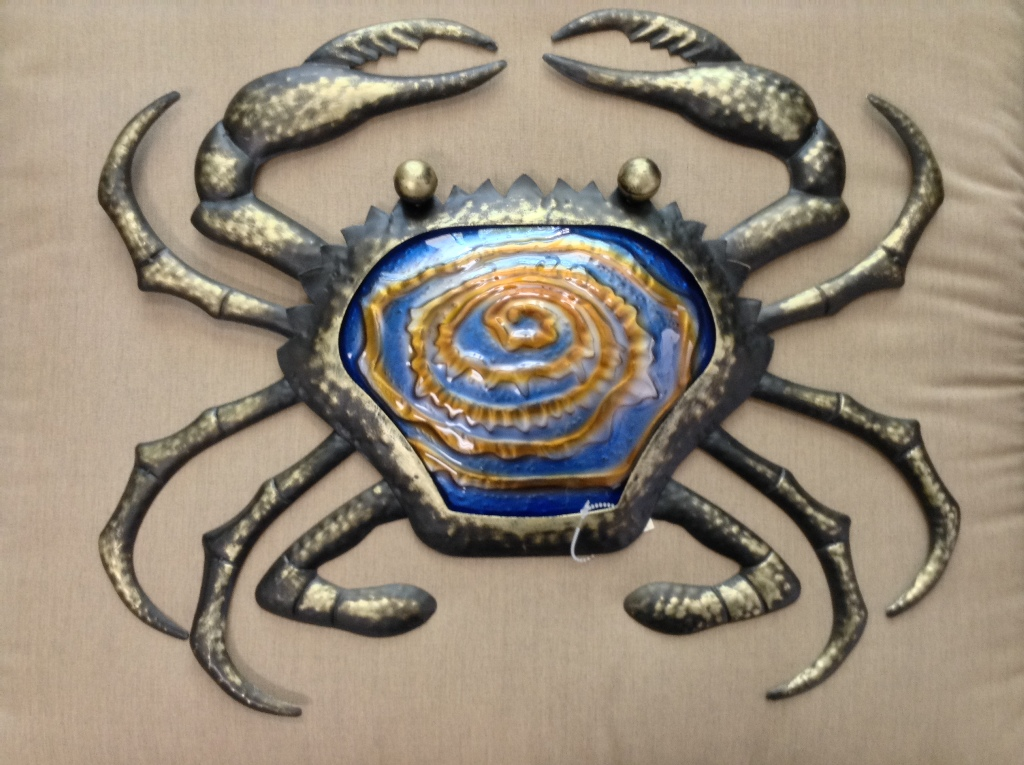 "Bronze Cobalt Metal & Glass Crab W = 20"" H = 16"""