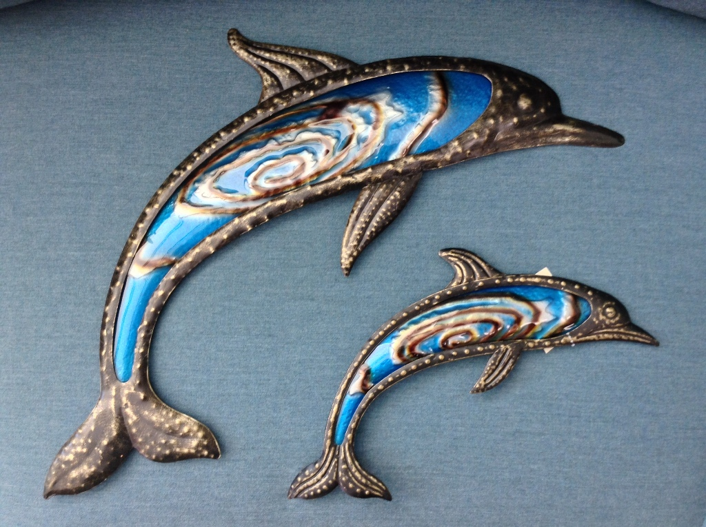 "Bronze Cobalt Metal & Glass Dolphins Small W = 14"" H = 6"" Large W = 24"" H = 6"""