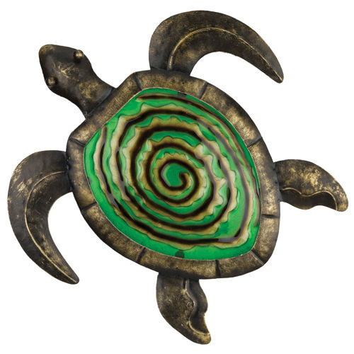 "Bronze Green Turtle Metal & Glass Wall Decor W = 11"" L = 13"""