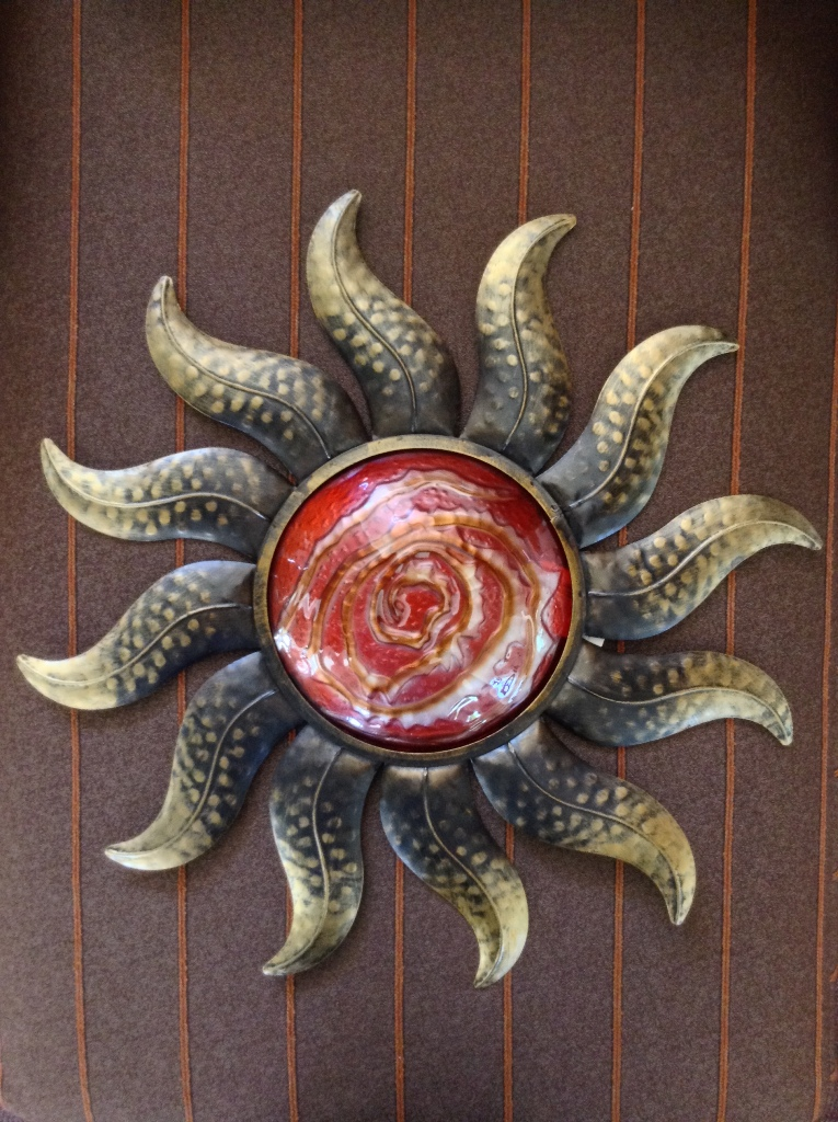 Bronze Orange Metal & Glass Sun Wall Decor D=22""