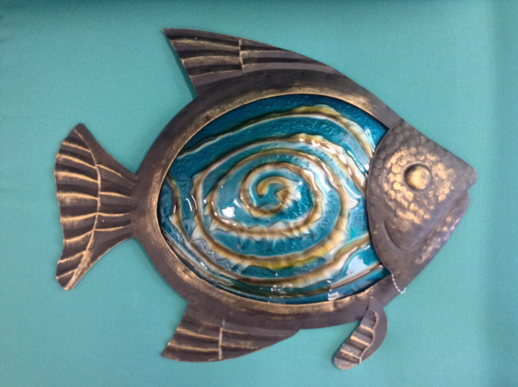 "Bronze Turquoise Metal & Glass  Fish Wall Decor W = 17"" H =  13"""