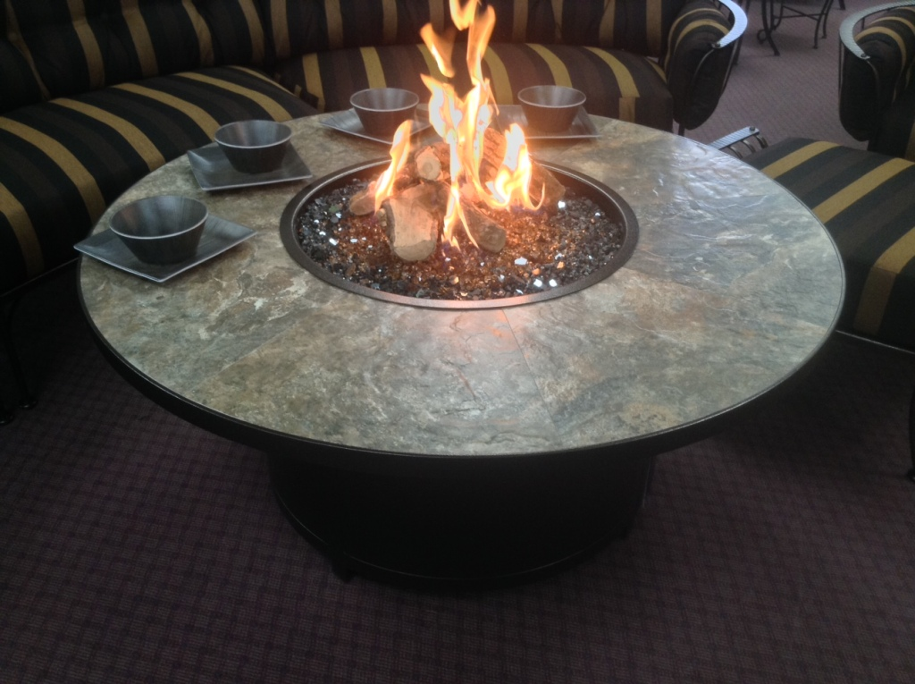 "Capri 54"" Rnd. Fire Table  Rustic Slate Tiles with Logs"