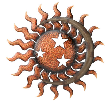 Celestial Sun Metal Wall Decor D = 29""
