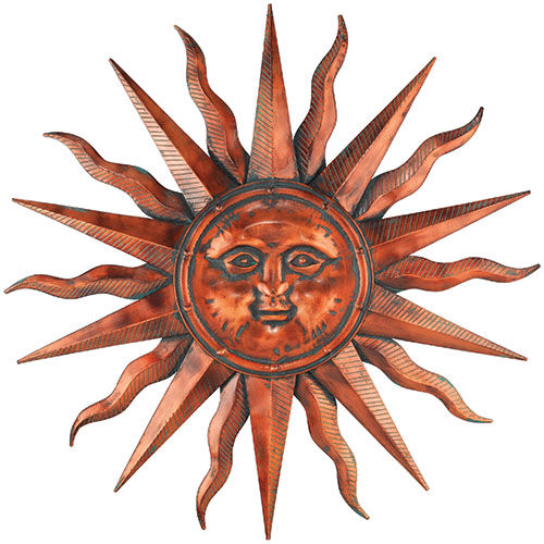 Copper Patina Sun Metal Wall Decor D = 40""