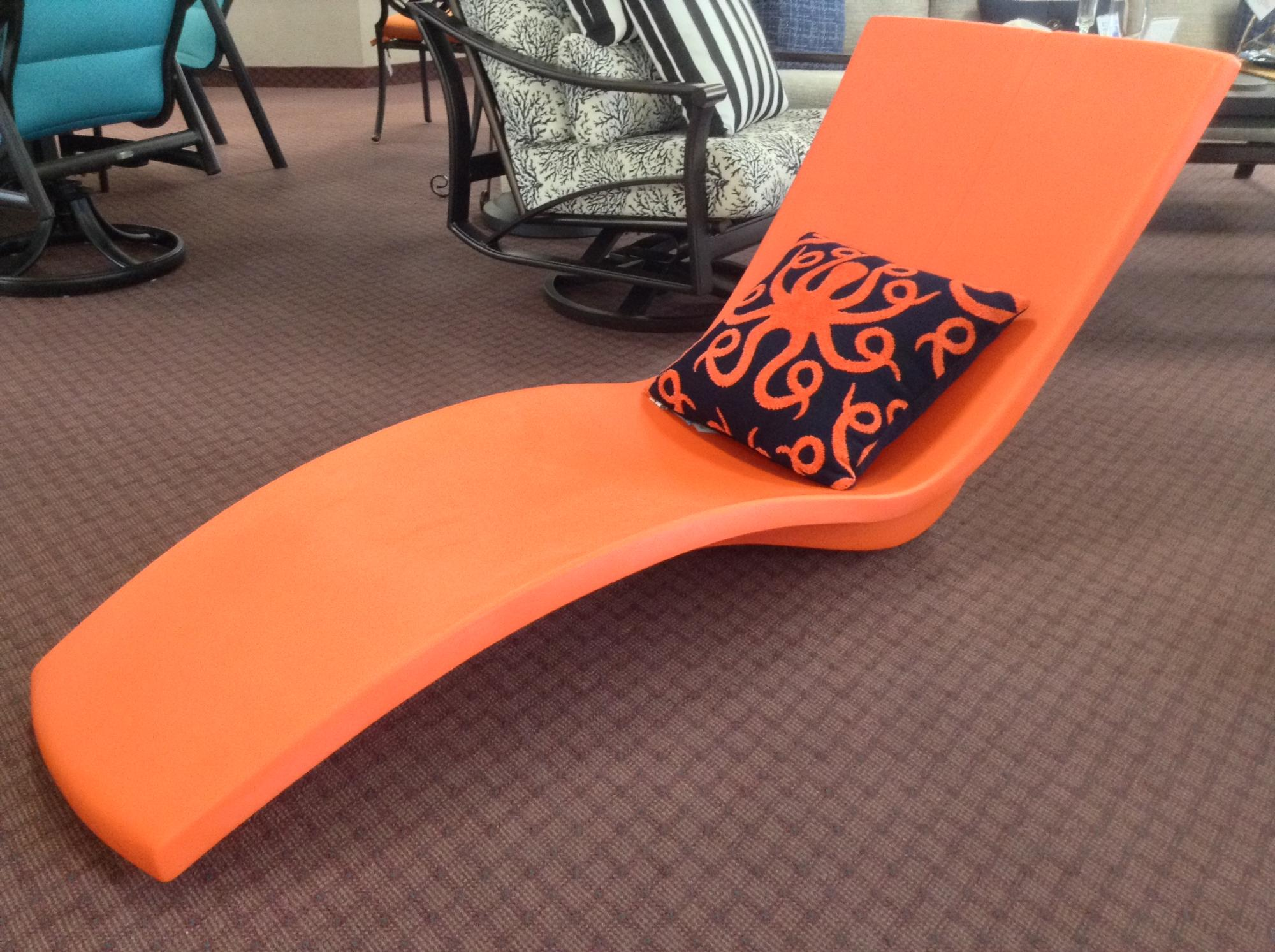 "Curve Wet Deck Chaise Lounge Bright Orange W=28.5"" D=69.5"" H=35"" SH=4"""
