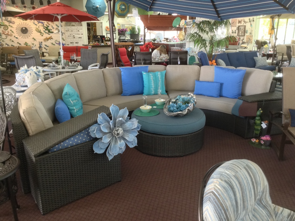 Del Mar Five Piece Sectional ~ Three Crescent Sofas & Two Storage End Tables Shown with Optional Ottoman