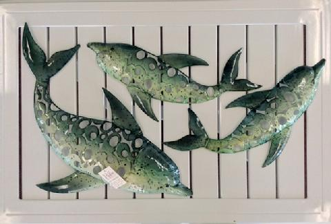 "Dolphin Family Metal Wall Decor Large 24""  Medium 19"" Small 18"""