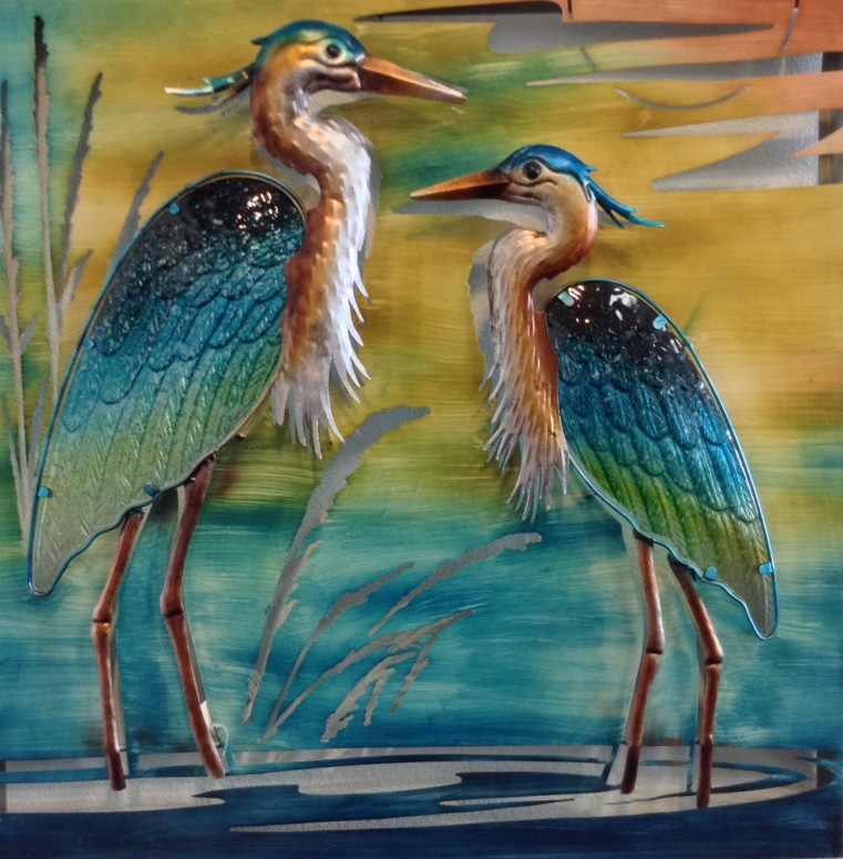 "Double Heron Wall Decor 30"" Square ~ Metal and Glass"