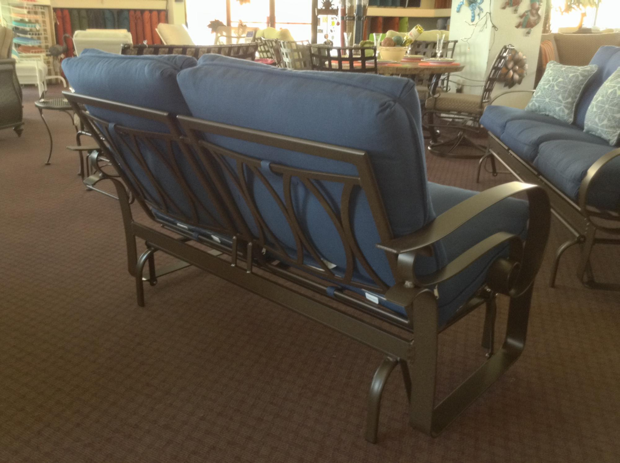 "Emory Low Back Love Seat Glider ~Back View ~ W=55"" D=35"" H=35"" SH=19"" AH=24"""