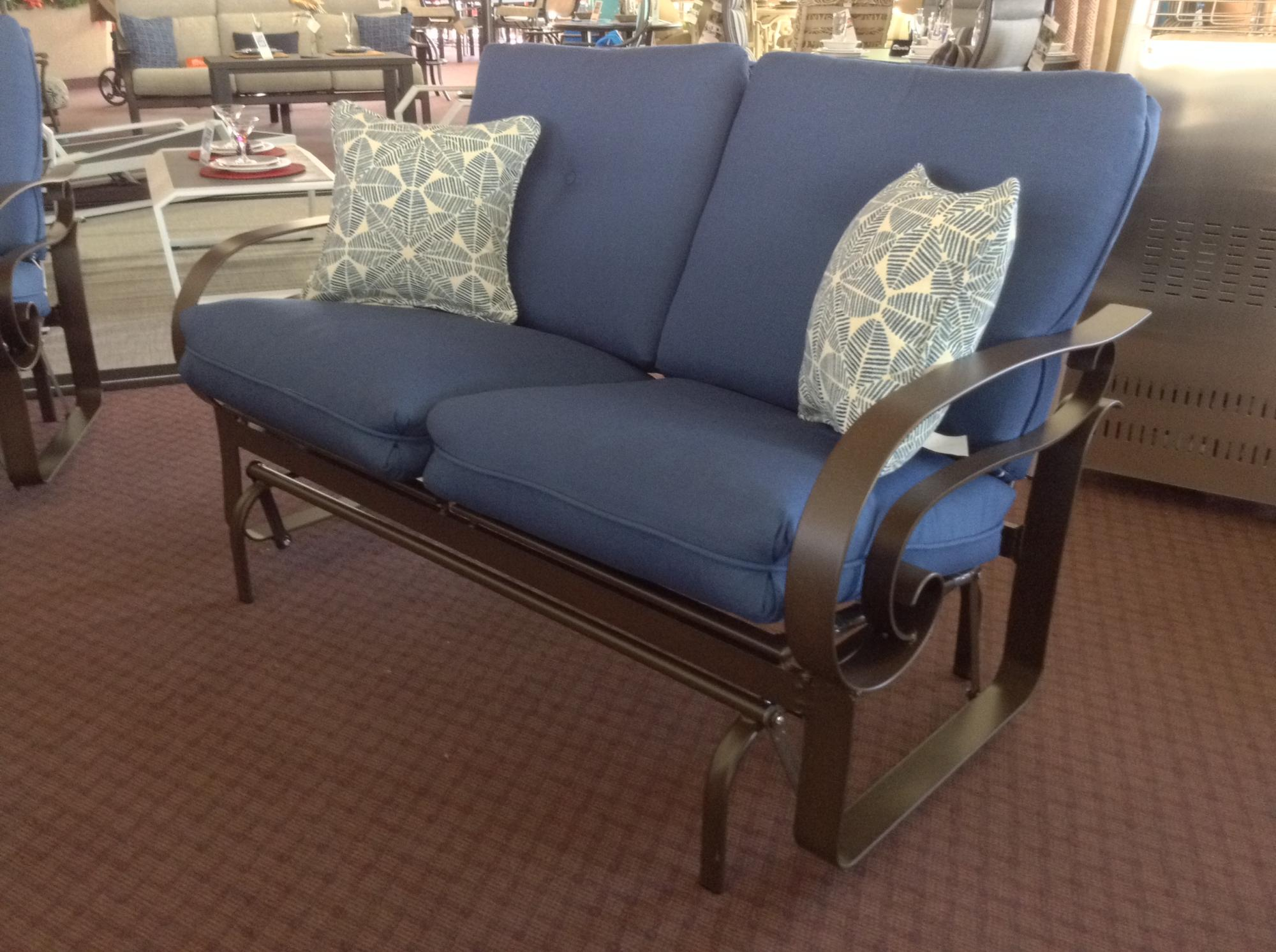 "Emory Low Back Love Seat Glider W=55 D=31"" H=35"" SH=19"" AH=24"""